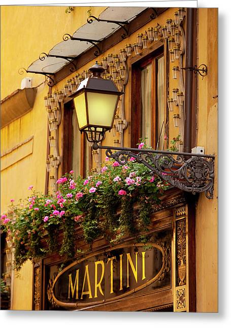 Flower Box Over Shop Entrance In Old Greeting Card by Brian Jannsen