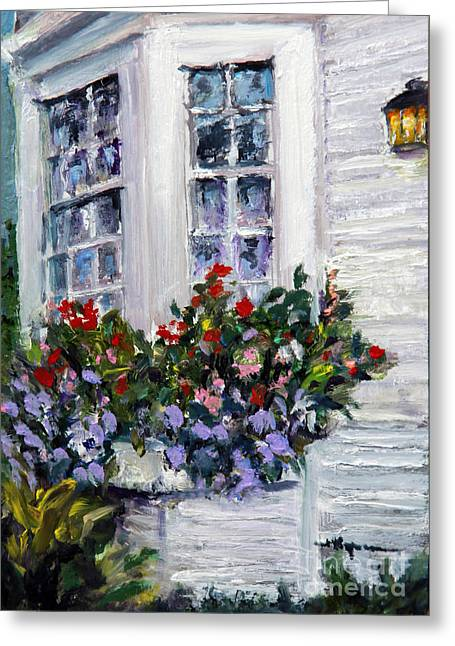 Clapboard House Paintings Greeting Cards - Flower Boxes at the Ocean Greeting Card by Shelley Koopmann