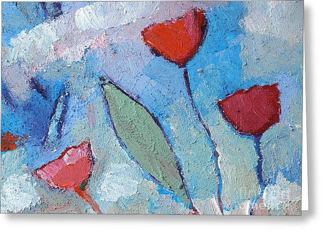 Texture Flower Paintings Greeting Cards - Flower Breeze Greeting Card by Lutz Baar