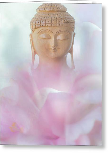 Inner World Greeting Cards - Flower Buddha Greeting Card by Jenny Rainbow