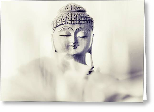 Inner World Greeting Cards - Flower Buddha. Monochrome Greeting Card by Jenny Rainbow