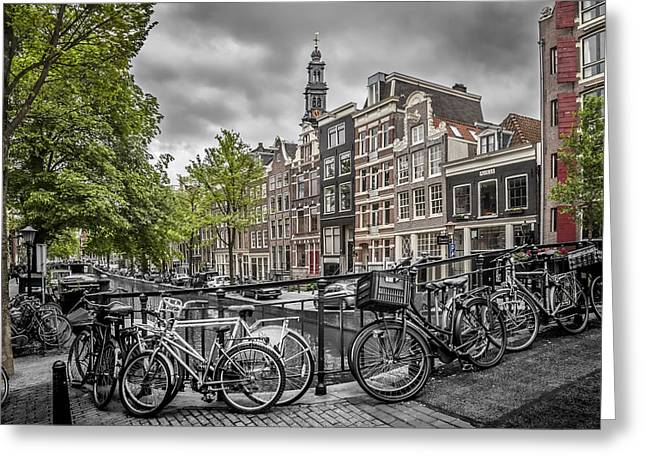 Old Towns Digital Art Greeting Cards - Flower Canal Amsterdam Greeting Card by Melanie Viola