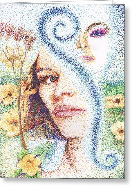 Pointillist Drawings Greeting Cards - Flower Children Greeting Card by William Killen