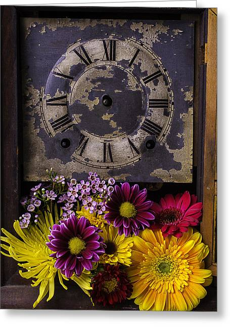 Daisy Greeting Cards - Flower Clock Greeting Card by Garry Gay