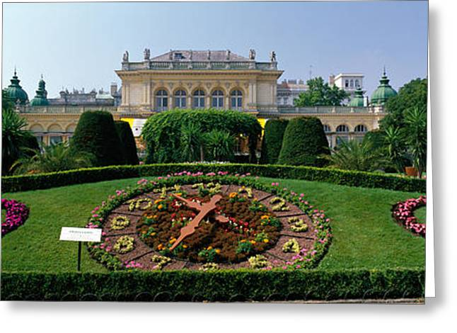 Wien Greeting Cards - Flower Clock, Stadtpark, Vienna, Austria Greeting Card by Panoramic Images