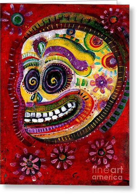 Apparel Mixed Media Greeting Cards - Flower Covered Sugar Skull - DAY OF THE DEAD ART Greeting Card by Wild Colors