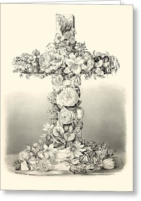 Religious Digital Art Greeting Cards - Flower Cross Greeting Card by Gary Grayson