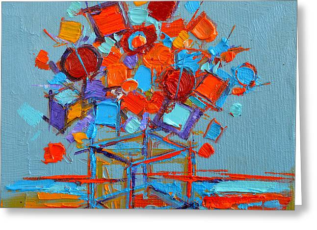 Grey Turquoise Greeting Cards - Flower Cube Greeting Card by Mona Edulesco