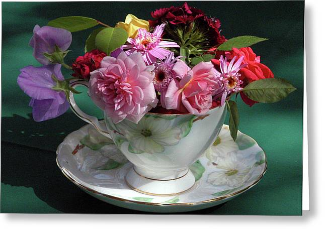 Vintage Teacup Greeting Cards - Flower Cup 1 Greeting Card by Charlette Miller