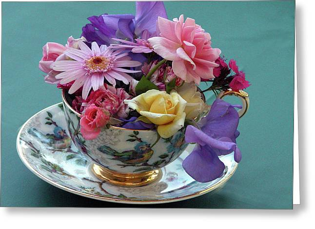Vintage Teacup Greeting Cards - Flower Cup 2 Greeting Card by Charlette Miller