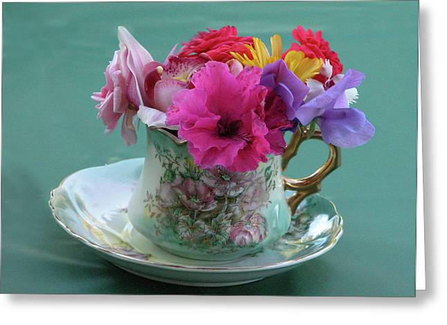 Vintage Teacup Greeting Cards - Flower Cup 3 Greeting Card by Charlette Miller