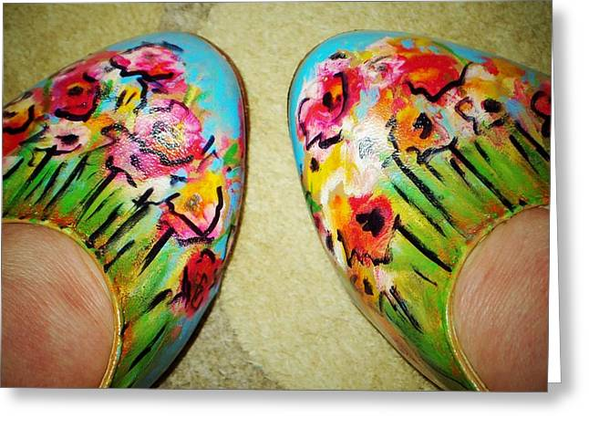 Flower Dancing Shoes Greeting Card by Laura  Grisham