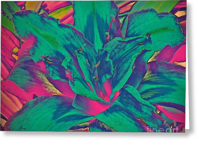 Fushia Mixed Media Greeting Cards - Flower - Day lily - Flowerworks Greeting Card by Donna E Pickelsimer