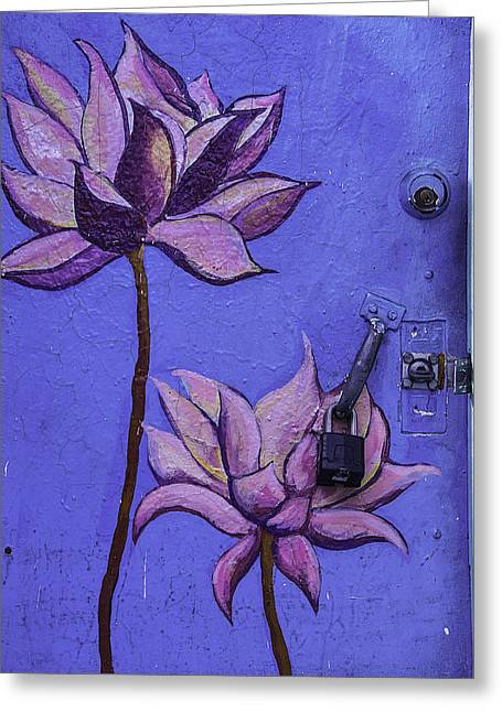 Painted Wood Greeting Cards - Flower Door Greeting Card by Garry Gay