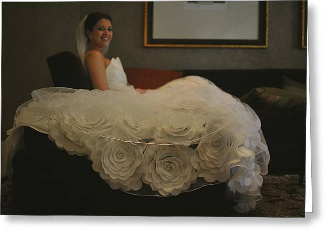 Strapless Dress Greeting Cards - Flower Dress Bride Greeting Card by Mike Hope