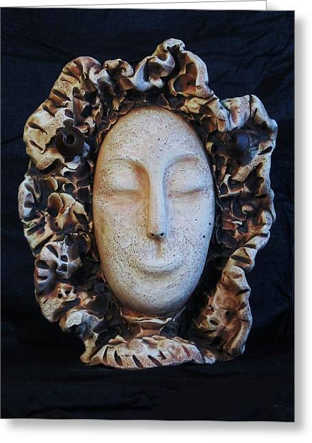 Face Reliefs Greeting Cards - Flower face Greeting Card by Angelica Sepulveda