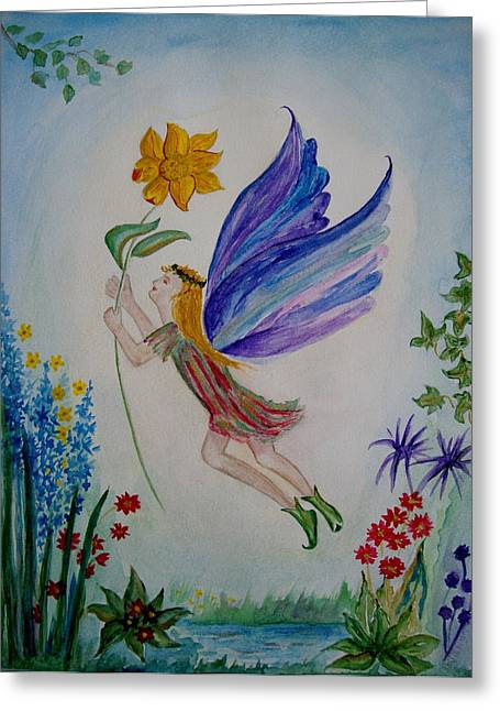 Veronica Rickard Greeting Cards - Flower Fairy Greeting Card by Veronica Rickard