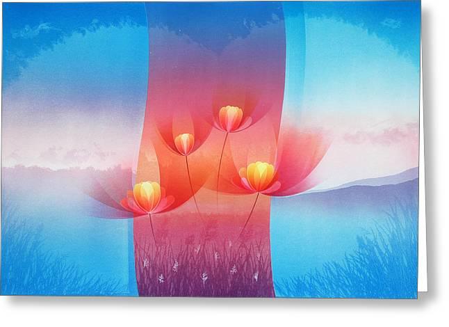Block Printing Greeting Cards - Flower Family 2 Greeting Card by Sutthipong Changaim