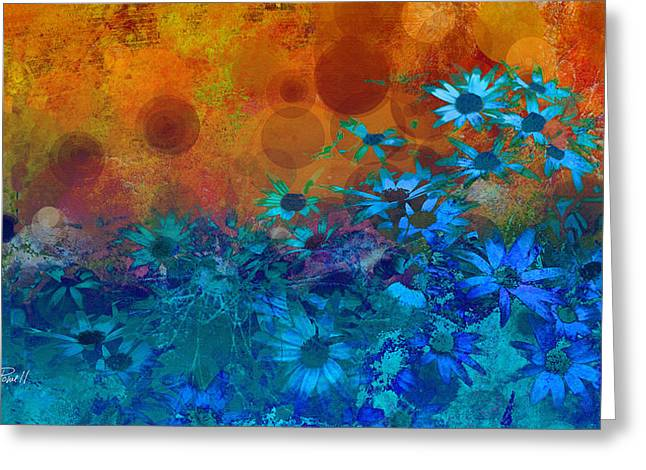 Blue Flowers Digital Art Greeting Cards - Flower Fantasy in Blue and Orange  Greeting Card by Ann Powell