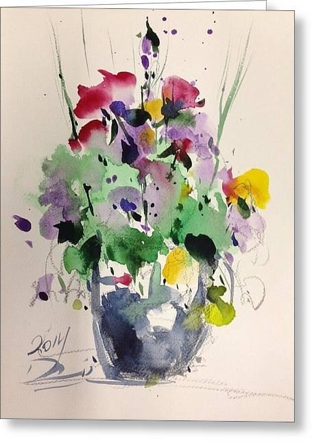 Vase Of Flowers Drawings Greeting Cards - Flower Greeting Card by Farid Ahmadi