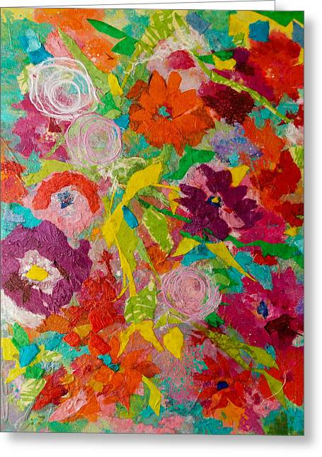 Kat Mixed Media Greeting Cards - Flower Fest I Collage Greeting Card by Kat Ebert