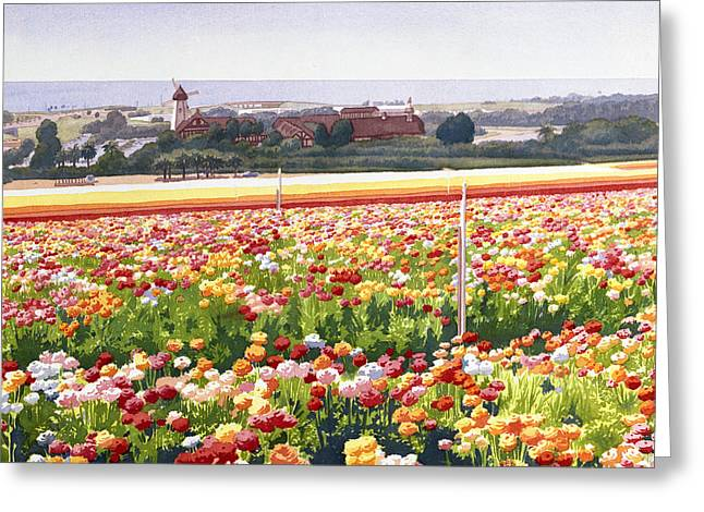 Windmills Greeting Cards - Flower Fields in Carlsbad 1992 Greeting Card by Mary Helmreich
