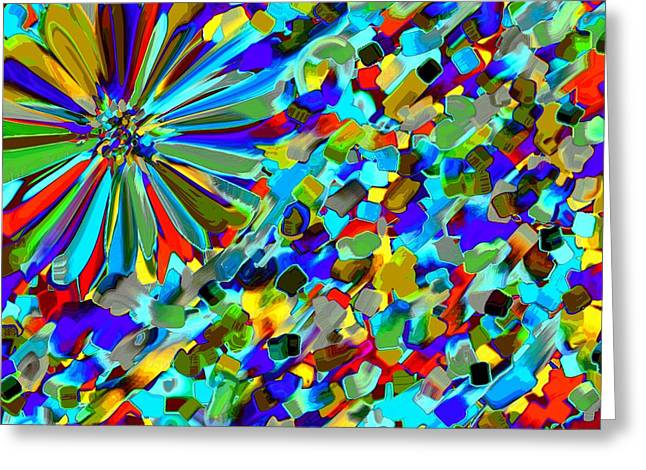 Flower Express Greeting Cards - Flower Fight Abstract Greeting Card by Alec Drake