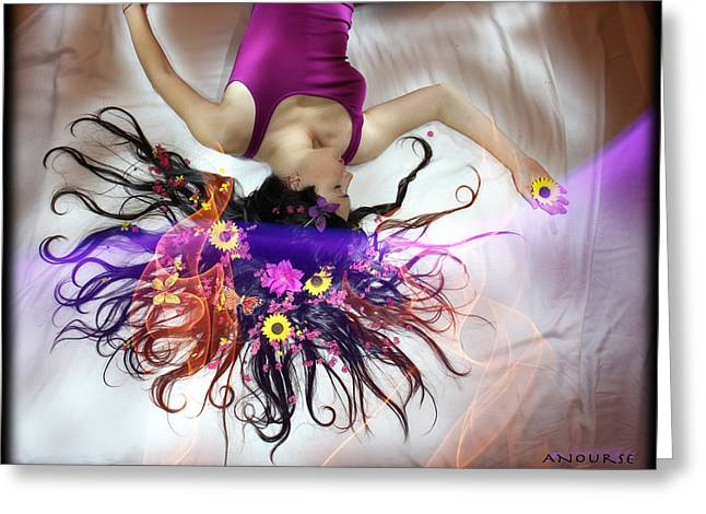 Long Bed Greeting Cards - Flower Fire Dream Greeting Card by Andrew Nourse