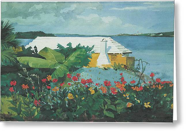 Bungalow Greeting Cards - Flower garden and Bungalow Bermuda Greeting Card by Winslow Homer