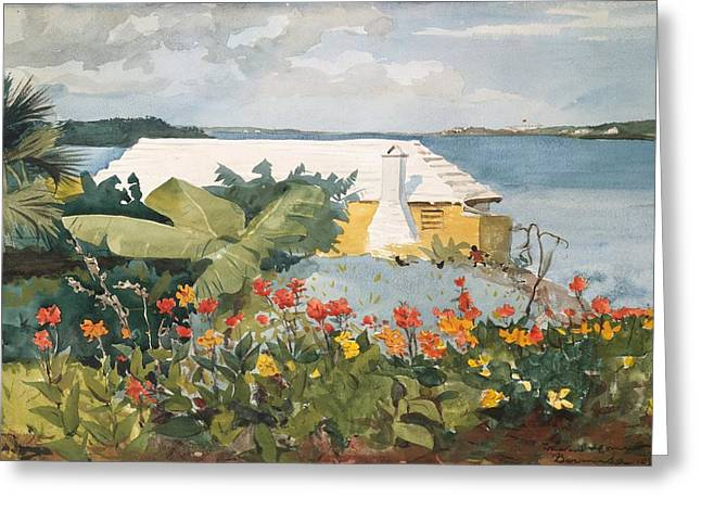 Ocean Landscape Drawings Greeting Cards - Flower Garden and Bungalow Greeting Card by Winslow Homer