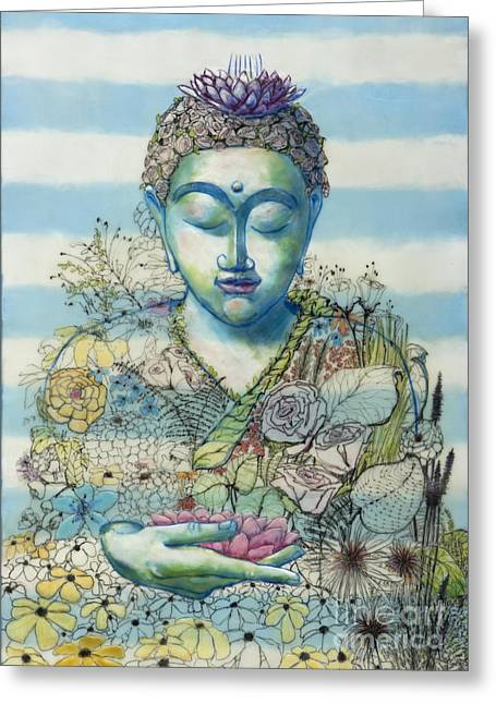 Recently Sold -  - Ink Drawing Greeting Cards - Flower Garden Buddha Greeting Card by Andrea Benson