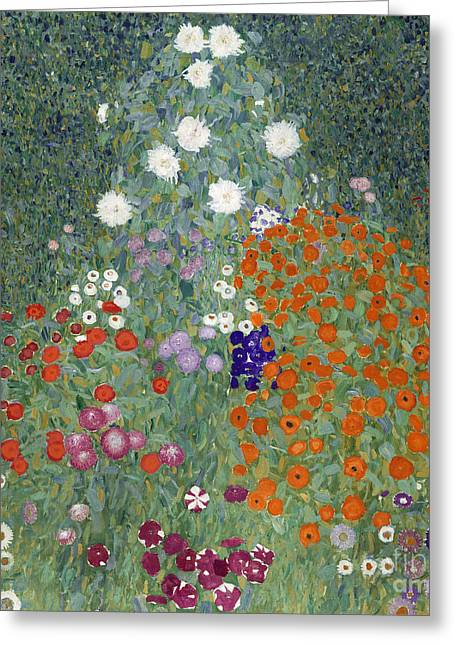 Klimt Greeting Cards - Flower Garden Greeting Card by Gustav Klimt