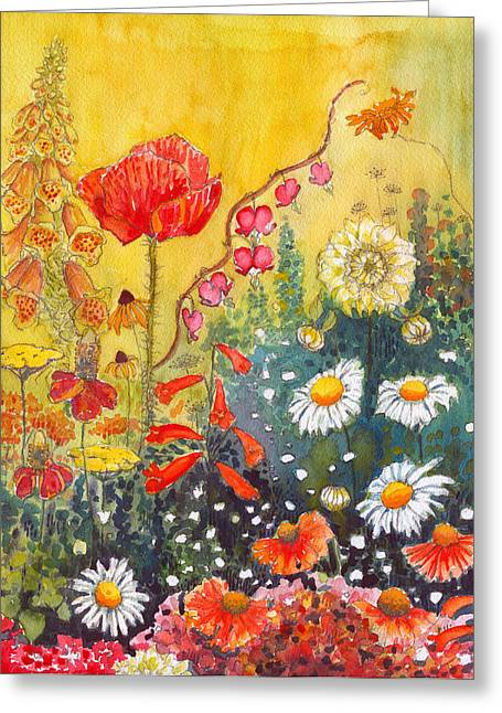 Essential Paintings Greeting Cards - Flower Garden Greeting Card by Katherine Miller