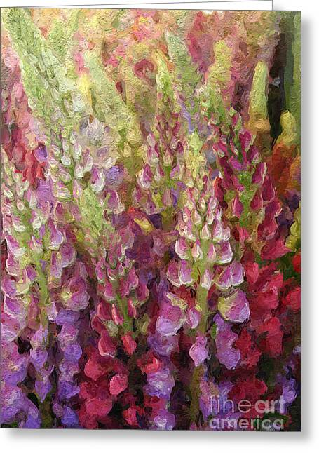Oil Mixed Media Greeting Cards - Flower Garden Greeting Card by Linda Woods