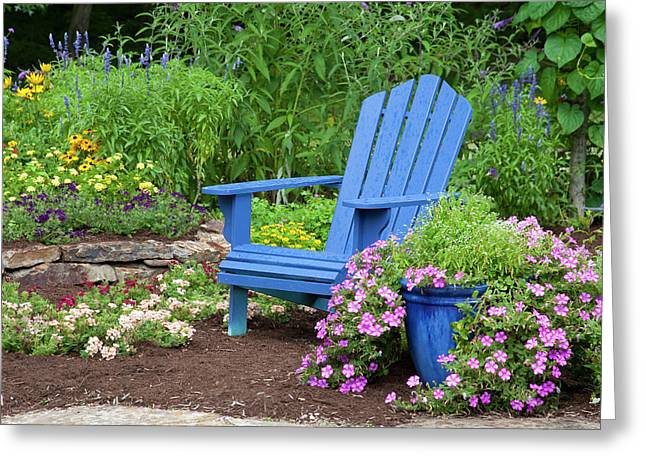 Flower Garden With Blue Adirondack Greeting Card by Richard and Susan Day