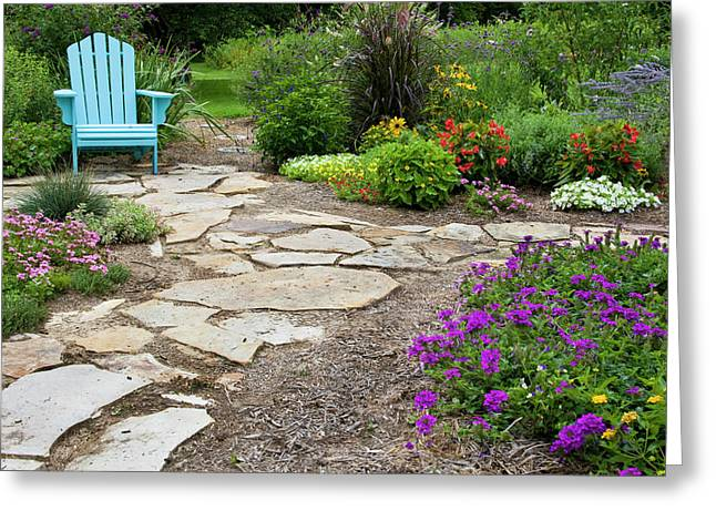 Flower Garden With Path And Blue Chair Greeting Card by Richard and Susan Day