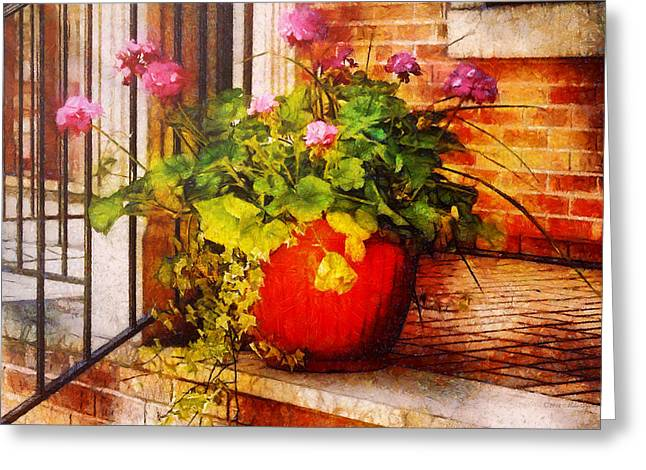 Red Geraniums Greeting Cards - Flower - Geraniums - One fine sunny day Greeting Card by Mike Savad