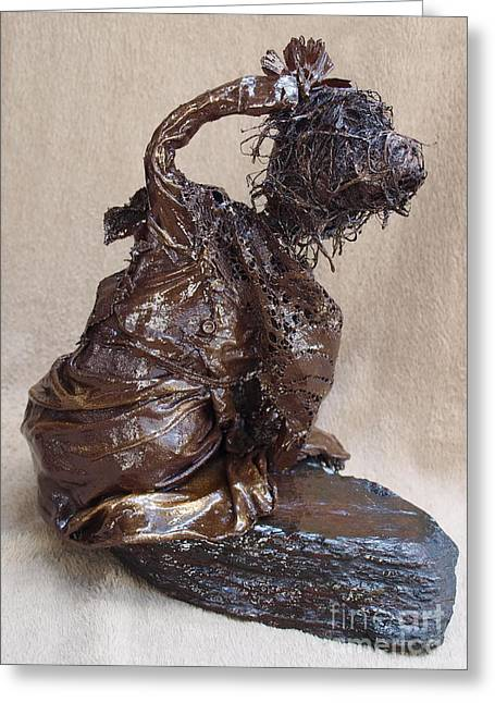 Realism Sculpture Sculptures Sculptures Greeting Cards - Flower Girl - 2nd Photo Greeting Card by Vivian Martin