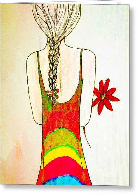 Youthful Mixed Media Greeting Cards - Flower Girl Greeting Card by Anne Costello