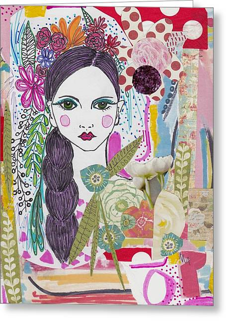 Watercolor With Pen Mixed Media Greeting Cards - Flower Girl Collage Greeting Card by Rosalina Bojadschijew