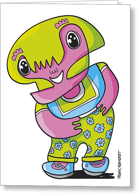 Humor Greeting Cards - Flower Girl Doodle Character Greeting Card by Frank Ramspott