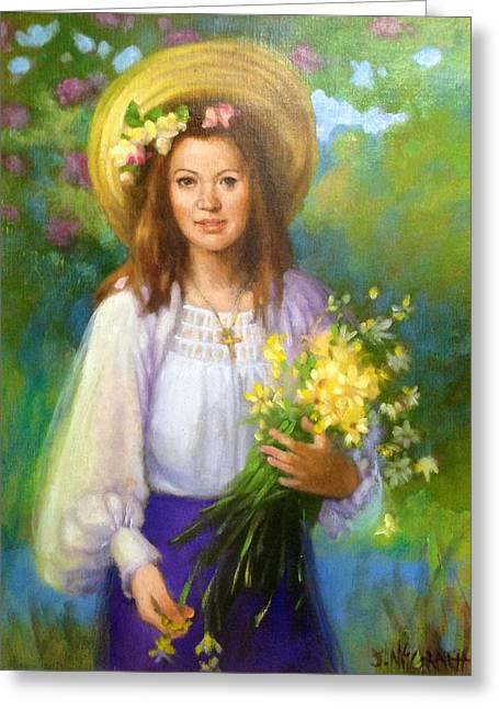 Janet Mcgrath Greeting Cards - Flower Girl Greeting Card by Janet McGrath