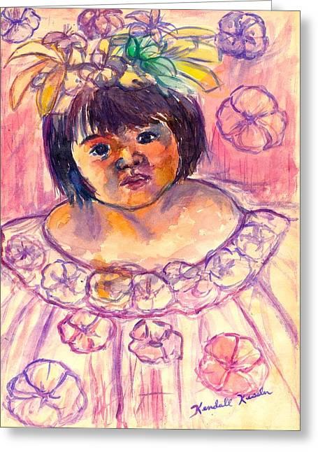 Impressionist Greeting Cards - Flower Girl Greeting Card by Kendall Kessler