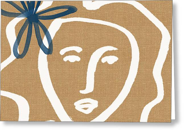 Girl Face Greeting Cards - Flower Girl Greeting Card by Linda Woods
