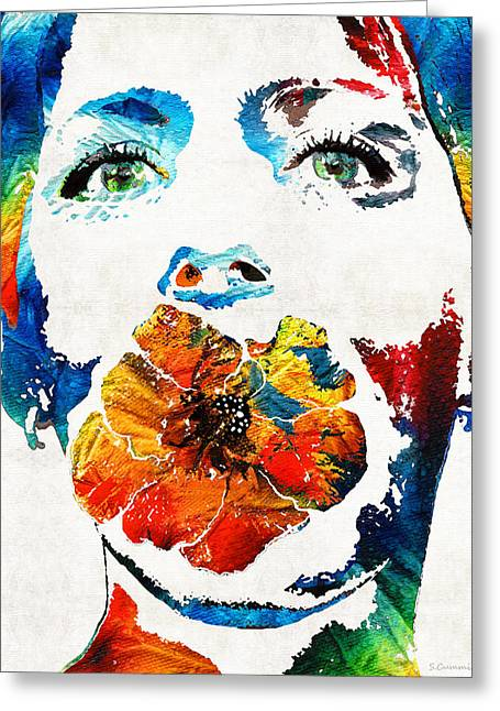 Female Faces Greeting Cards - Flower Girl Self Portrait by Sharon Cummings Greeting Card by Sharon Cummings