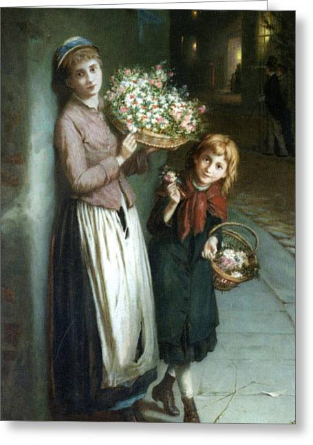 A Summer Evening Greeting Cards - Flower Girls a Summer Night Greeting Card by Augustus Edwin Mulready