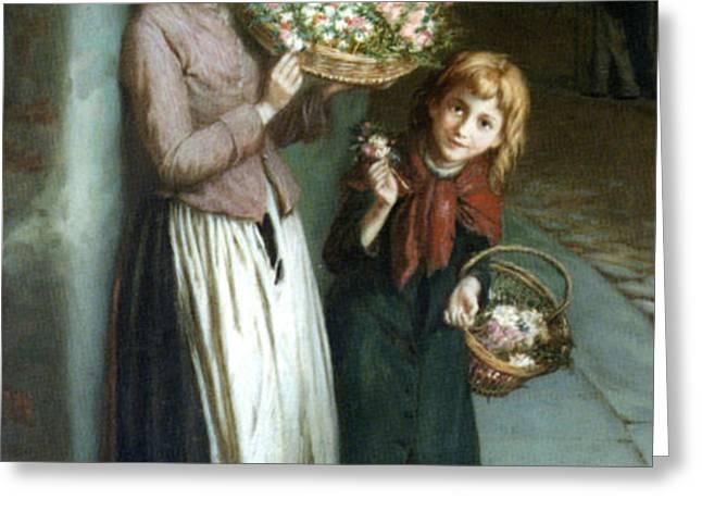 Flower Girls a Summer Night Greeting Card by Augustus Edwin Mulready