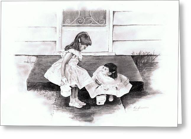 Graphite Pastels Greeting Cards - Flower Girls Circa 1960 Greeting Card by Kim Brecklein