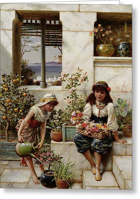Watering Can Greeting Cards - Flower Girls Greeting Card by William Stephen Coleman