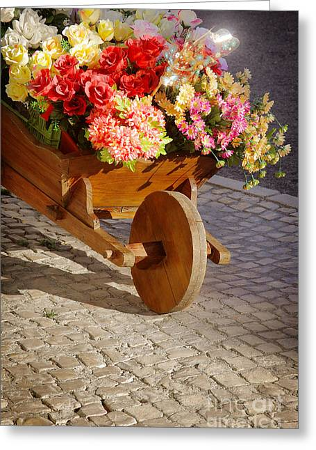 Spring Street Greeting Cards - Flower Handcart Greeting Card by Carlos Caetano